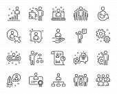 Management Line Icons. Set Of Business Audit, Startup Strategy And Employees Linear Icons. Business  poster