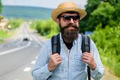Tips Of Experienced Backpacker. Man Bearded Hipster Backpacker At Edge Of Highway. Pick Me Up. Backp poster