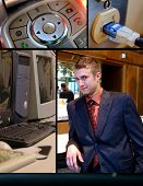 foto of fancy mouse  - A internet plug an upclose of a cellphone and desktop computers and a man in a business suit - JPG