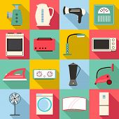 Household Appliances Icons Set. Flat Illustration Of 16 Household Appliances Icons For Web poster