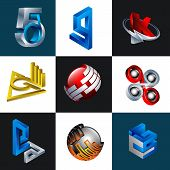 3d Abstract Logo Collection, Modern Logo Combination Of Harmonious Colors And Glossy, Industrial Log poster