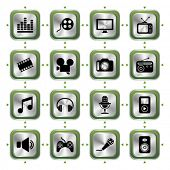 Multimedia icons set HL. Illustration vector