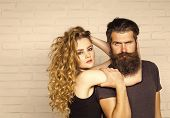 Girl And Bearded Hipster. Hipsterism, Subculture, Trend. Fashion, Beauty, Style Concept. Man With Be poster