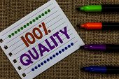 Handwriting Text Writing 100 Quality. Concept Meaning Guaranteed Pure And No Harmful Chemicals Top E poster