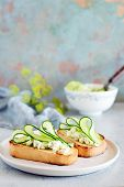 Sandwich With Cream Cheese And Fresh Cucumber. Close-up. Vegetarian Fitness Sandwich With Cottage Ch poster