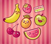 stock photo of kawaii  - Kawaii smiling fruits - JPG