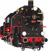 A Detailed Illustration Of A Veteran Ten Wheeler Steam Freight Tender Locomotive With Brass Pipe Fit poster