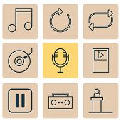 Music Icons Set With Tape, Refresh, Dj Disc And Other Refresh Elements. Isolated Vector Illustration poster