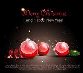 Постер, плакат: Рождественские украшения на черном фоне