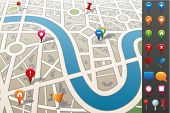stock photo of gps  - City map with GPS Icons - JPG