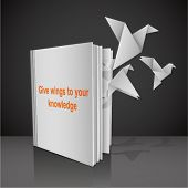 picture of spread wings  - Empty white book with symbolic title  - JPG