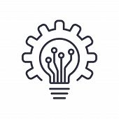 Light Bulb Icon And Gear. Lightbulb And Cogwheel Inside. Logo Concept. Modern Flat Line Vector Icon poster