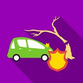 Protect Machine From Accident Icon. Flat Illustration Of Protect Machine From Accident Icon For Web poster