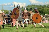 MOSCOW - SEPTEMBER 4: Ancient battle reconstruction. The international festival of fights Times and