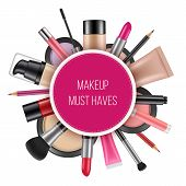 Advertizing Poster Of Cosmetics. Vector Pictures Of Cosmetics For Realistic Placard poster