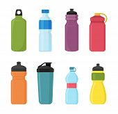 Vector Illustration Set Of Bicycle Plastic Bottle For Water In Different Shaps And Colors. Container poster