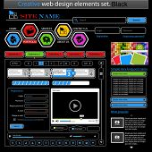 Creative black web design elements set. Vector illustration