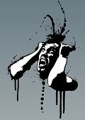 stock photo of berserk  - Detailed vector illustration of a screaming man pulling his hair out out of madness - JPG