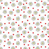 Simple Seamless Vector Background Chamomile Drawing, Red And Yellow Flowers Simple, Easy Simple Draw poster