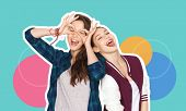 people, fashion and friendship concept -magazine style collage of happy teenage girls having fun and poster