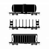 stock photo of hopper  - Set of three stylised wagons - JPG