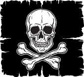 picture of skull crossbones flag  - Skull and Crossbones over black flag - JPG