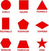 image of trapezoid  - Illustration of Basic Geometric Shapes with Captions for Children Education - JPG