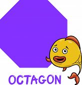 stock photo of octagon  - Cartoon Illustration of Octagon Basic Geometric Shape with Funny Fish Character for Children Education - JPG