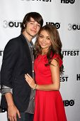 LOS ANGELES - JUL 22:  Matt Prokop, Sarah Hyland arrives agt the 2012 Outfest Closing Night Gala of