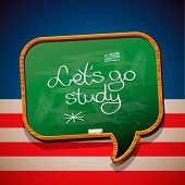 Let's go study - handwritten on blackboard