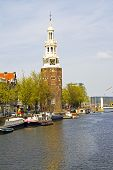 Medieval montelbaanstower in Amsterdam the Netherlands