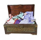 picture of keepsake  - A large wooden trunk of family keepsakes and items kept in memory  - JPG