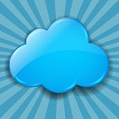 Retro Burst Background With Cloud With Gradient Mesh, Vector Illustration
