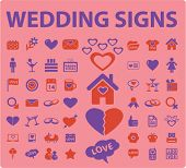wedding celebration card icons, signs set, vector