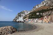 foto of gibraltar  - Beautiful Mediterranean La Caleta beach in Gibraltar - JPG