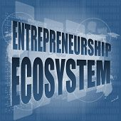 Entrepreneurship Ecosystem Word On Business Digital Touch Screen, art illustration