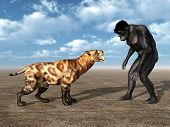 foto of habilis  - Computer generated 3D illustration with Homo Habilis and Smilodon - JPG