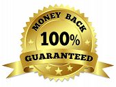 pic of 100 percent  - Vector gold circular label badge with text 100 percent money back guaranteed medal with ribbon and stars on white background - JPG