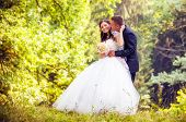 stock photo of marriage ceremony  - Wedding shot of bride and groom in park - JPG