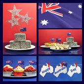 pic of pegging  - Happy Australia Day January 26 collage of five images with lamingtons flags fairy bread meat pie and sauce cupcakes and bunting greeting hanging from pegs on a line - JPG