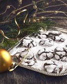 Chocolate Cookies In Powdered Sugar.