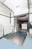 picture of loading dock  - Interior of warehouse loading dock vertical view - JPG