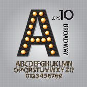 picture of broadway  - Set of Black Broadway Alphabet And Numbers Vector - JPG