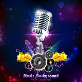picture of pop star  - illustration of Vintage Microphone on musical background - JPG