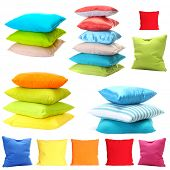stock photo of puffy  - Collage of color pillows - JPG
