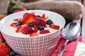 Semolina Pudding In A Bowl With Berries