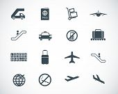 stock photo of clip-art staff  - Vector black airport icons set on white background - JPG