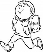 stock photo of knapsack  - Black and White Cartoon Illustration of Primary School Student Boy with Knapsack for Coloring Book - JPG