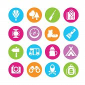 pic of stockade  - set of 16 camping icons in colorful buttons - JPG
