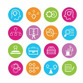 picture of spherical  - set of 16 business solution icons in colorful buttons - JPG
